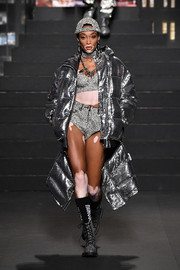 Winnie Harlow sparkled all the way down to her silver combat boots.