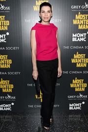 Julianna Margulies donned a bright-red blouse with a gathered neckline for the premiere of 'A Most Wanted Man.'