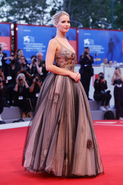 Jennifer Lawrence looked downright regal in a Christian Dior Couture point d'esprit gown with rose embroidery at the Venice Film Festival premiere of 'Mother!'