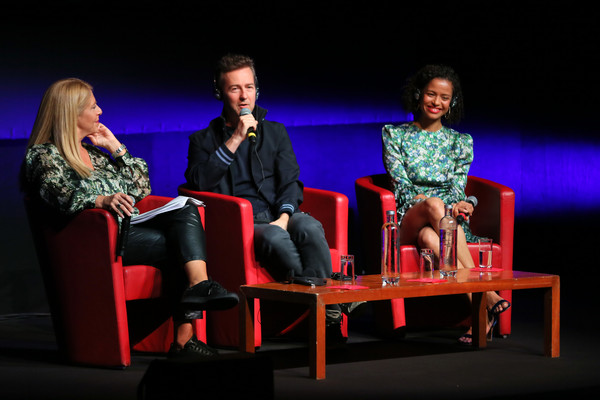 More Pics of Gugu Mbatha-Raw Gold Quartz Watch (5 of 13) - Dial Watches Lookbook - StyleBistro [motherless brooklyn,entertainment,heater,performance,performing arts,event,musical theatre,drama,theatre,fun,stage,gugu mbatha-raw,edward norton,rome,italy,2ndl-r,press conference,motherless brooklyn press conference - 14th rome film fest 2019,rome film festival]