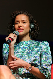 Gugu Mbatha-Raw sported a classic gold quartz watch at the 'Motherless Brooklyn' press conference during the 2019 Rome Film Fest.
