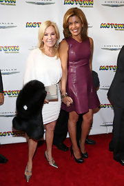 Hoda Kotb chose an eggplant-colored leather dress for her sleek and contemporary red carpet look at the opening night of 'Motown.'