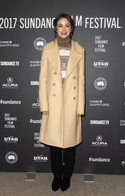 Carey Mulligan stayed classic in a double-breasted ecru wool coat by The Row at the Sundance premiere of 'Mudbound.'