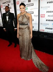 Jordin Sparks went wild at Muhammad Ali's Fight Night in Arizona in this leopard print silk number.