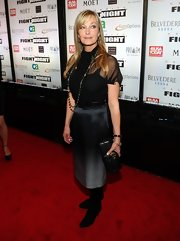 Bo Derek paired her black ensemble with this ombre charcoal silk skirt at Muhammad Ali's Fight Night.