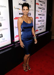 Halle wore a vibrant blue satin cocktail dress to Celebrity Fight Night.