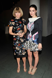 Bee Shaffer went for an ultra-modern vibe at the MoMA benefit in a Peter Pilotto mixed-print dress with a flirty hem.