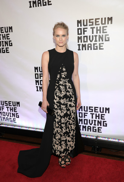 Leven Rambin oozed classic glamour in a monochrome fishtail gown with an embroidered front during the Museum of the Moving Image 30th Annual Salute.