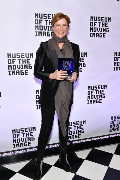 Annette Bening opted for a simple black blazer when she was honored by the Museum of the Moving Image.