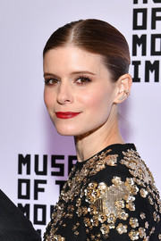 Kate Mara slicked her hair back into a center-parted braid for the Museum of the Moving Image Salute to Annette Bening.
