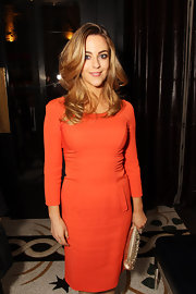 Miranda Raison was a vibrant beauty in an orange sheath dress for the UK premiere of 'My Week With Marilyn.'