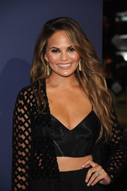 Chrissy Teigen sported flowing, sexy waves at the NBA 2K15 launch.