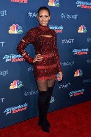 Melanie Brown dazzled in a heavily beaded, buckle-embellished mini dress by Di$count Universe at the 'America's Got Talent' season 11 live show.