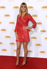 Heidi Klum made a red-hot choice with this moto-chic Jitrois leather dress when she attended the Sports Illustrated Swimsuit Issue 50th anniversary bash.