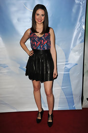 Alison Brie exuded a girly vibe in her tiered black leather mini skirt at the 2011 TCA press tour all-star party.