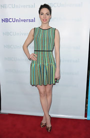 Whitney Cummings donned a striped fit-and-flare knit dress for the TCA All-Star Party.