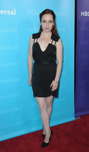 Zoe Lister Jones got creative with cutouts with her silk LBD.