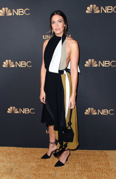 Mandy Moore went modern in a color-block halter dress by Proenza Schouler at the NBC and Universal Emmy nominee celebration.