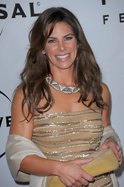 Jillian Michaels pulled together her glittery Golden Globes after-party ensemble with a diamond collar necklace.