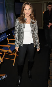Jillian Michaels' gray snakeskin jacket at the NBC Universal Summer Press Day looked oh-so-luxurious.
