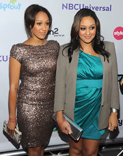 Tamera Mowry looked sexy yet sophisticated in a pewter sequined dress with cap sleeves at the NBC Universal TCA 2011 Press Tour All-Star Party.