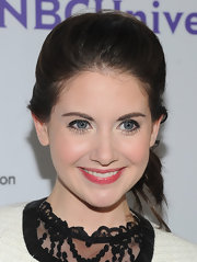 Alison Brie swept her hair up in a high-volume side-swept ponytail for the 2011 TCA press tour all-star party.