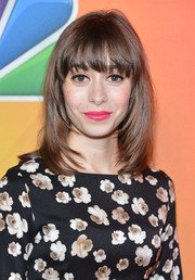 Cristin Milioti sported a modern face-framing layered cut with eye-grazing bangs during the NBC Upfront Presentation.