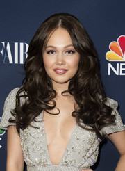 Kelli Berglund was retro-glam with her center-parted curls and teased crown while attending NBC and Vanity Fair's toast to the 2016-2017 TV season.