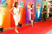 Whitney Cummings wowed in a red racer-front dress at NBC's Upfronts event.