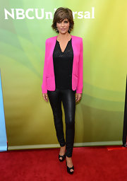 Lisa Rinna's legs looked extra long and lean in a tight pair of leather pants.
