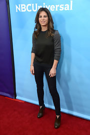 Jillian Michaels flaunted her shapely legs in a pair of black skinnies at NBCUniversals' 2013 Winter TCA Tour.