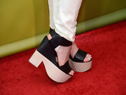 Coco Rocha took a turn on the red carpet in a pair of wooden platforms.