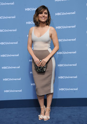 Sophia Bush was sexy and stylish in a form-fitting tricolor tank dress by Narciso Rodriguez at the NBCUniversal Upfront.