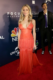 Kristin Cavallari flaunted some cleavage in a low-cut red slip dress by Maria Lucia Hohan at the NBCUniversal Golden Globes after-party.