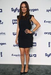 Catt Sadler went for a youthful vibe at the NBCUniversal Cable Entertainment Upfronts in a little black dress with ruffles down the side.