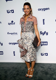 Orly Shani donned an embellished, sheer-yoke button-down for the NBCUniversal Cable Entertainment Upfronts.
