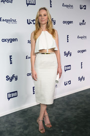 Anne Heche looked super cool in a midriff-baring white cocktail dress during the NBCUniversal Cable Entertainment Upfronts.