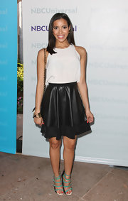 Julissa Bermudez wore a pair of black wedges with bright turquoise straps while attending NBCUniversal Summer Press Day.