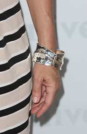 Cat Cora wore a stylish silver bangle to the NBC Universal Summer Press Day in Pasadena.