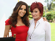 Sharon Osbourne was seen at the NBCUniversal Summer Press Day wearing a long necklace with a star pendant.
