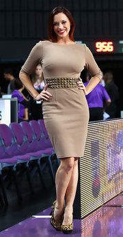 Jessica Sutta pulled off a classic look with a twist at the NBL as she wore a structured dress with metal stud details on the waist.