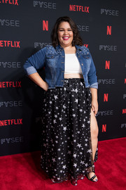 Britney Young layered a pearl-studded denim jacket over a crop-top for the 'Glow' Netflix FYSEE event.