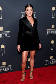 Lea Michele kept it sleek and elegant at the NFL Honors in a black velvet and satin tux dress by Ashi Studio.