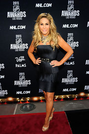 Adrienne Maloof's strapless LBD and nude platform peep-toes were a classy pairing.