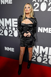 Laura Whitmore donned a ruched black cutout dress for the 2020 NME Awards.
