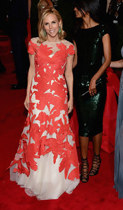 Tory Burch looked vibrant at the Met Gala in this applique gown.