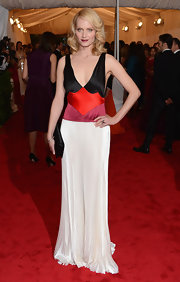 Amber Valetta continued the color-block trend in this pleated silk gown at the Met Gala.
