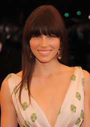 Jessica Biel wore her dark tresses long and straight with long lash-grazing bangs at the Costume Institute Gala.