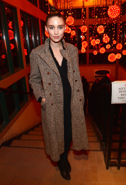 Rooney Mara stayed warm in a brown tweed coat at the 'Ain't Them Bodies Saints' celebration.