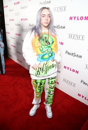 A pair of white and gray leather sneakers finished off Billie Eilish's ensemble.